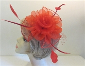 Red Mesh Flower Fascinator - Red Hat Society Ladies