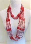 Red Beaded Infinity Scarf - Red Hat Lady Accessory
