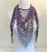 Triangular Beaded Purple Scarf - Red Hat Lady Accessory