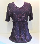 Purple Embroidered Sequin Blouse - Top - Red Hatter Glitz