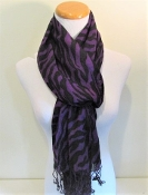 Purple Zebra Print - Pashmina- Shawl - Scarf - Red Hat Ladies