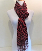 Red Zebra Print - Pashmina- Shawl - Scarf - Red Hat Ladies
