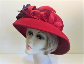 Creative Curls Purple Flowered Red Felt Red Hat