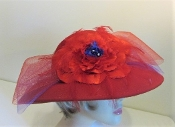 Flirtatious Flower Red Wool Red Hat Society Hat