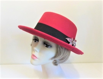 Gallant Gambler Red Felt Hat - Red Hat Society Ladies