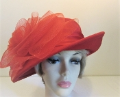 Showy Satin Red Felt Hat