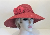 Bohemian Blossom Red Wool Red Hat Society Ladies Hat