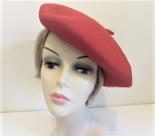 Red Wool Beret - Tam - Red Hat Society Ladies Tam - Beret