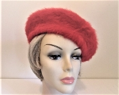 Red Fuzzy Beret - Red Hat Society Ladies Tam - Beret