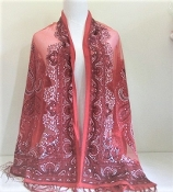 Red Paisley Print - Pashmina- Shawl - Scarf - Red Hat Ladies