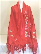Red Embroidered Floral Pashmina - Scarf - Red Hatters Accessory