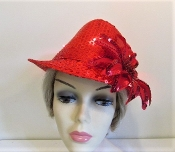 Red Light Up Holiday Sequin Fedora - Red Hat Society Lady Hat