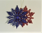 2 Sparkle Snowflake Christmas Ornaments - 1 Red -1 Purple