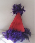 Red & Purple Feather Santa Hat - My Red Hat Store Exclusive
