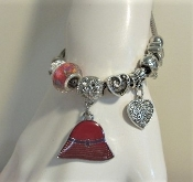 Pandora Style Red Hat Charm Bracelet - Red Hat Society Ladies