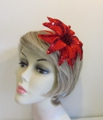 Red Iridescent Flower Holiday Head Band - Red Hat Ladies
