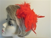 Red Hat Society Ladies Pink Chandelle Feather Hair Clip