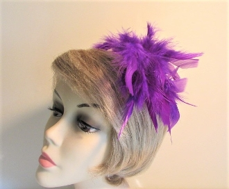 Red Hat Society Ladies Purple Chandelle Feather Hair Clip