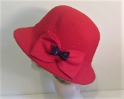 Bow On Brim Felt Cloche Red Hat - Red Hat Society Ladies