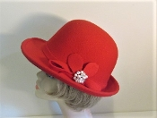 Fabulous Felt Cloche Red Hat - Red Hat Society Ladies