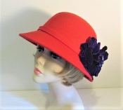 Blossom on Brim Red Felt Hat - Red Hat Society Ladies
