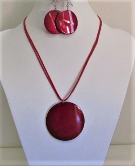 Round Shell Necklace - Earring Set - Red Hat Lady Jewelry