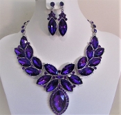 Purple Crystal Collar Necklace - Earrings - Red Hat Ladies Glitz