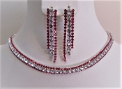 Red Rhinestone Choker Necklace - Earrings - Red Hat Ladies Bling