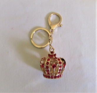 Red Crystal Gold Crown Key Chain - Red Hat Ladies
