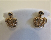 Clear Crystal Gold Crown Bling Earrings - Red Hat Ladies