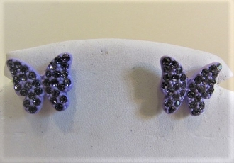 Purple Crystal Tiny Butterfly Earrings - Red Hat Lady Accessory