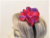 Velvet Head Band With Red - Purple Flower - Red Hattters