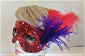 Red Sequin Feather Mask - Red Hat Society Ladies Colors