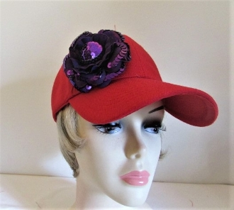 Simply Purple on Red Baseball Cap - Red Hat