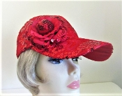 Red Fancy Sequin Baseball Cap - Red Cap