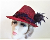Foxy Feathered Red Fedora For Red Hat Society Ladies