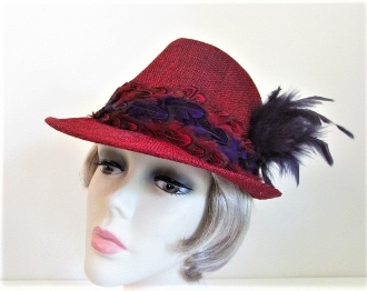 Foxy Feathered Red Fedora For Red Hat Ladies