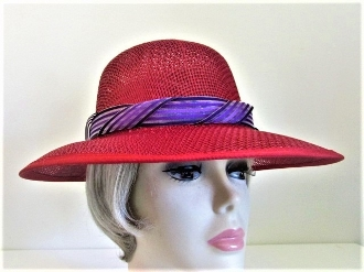 Beguiling Bonnet Red Straw Hat - Red Hat Society Ladies