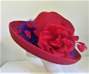 Flower and Feathers Red Hat In Red Hat Society Original Colors