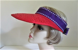 Sporty Straw Red Visor - Red Hat Society Ladies