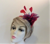 Feather Head Band Red-Purple Chandelle-Ostrich-Coque Feathers