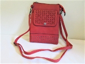 Cross Body Bag - Red Leather - Red Hat Society Ladies