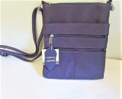 Cross Body Bag - Purple Genuine Leather - Red Hat Society Ladies