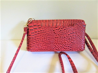 Cross Body Wallet Clutch Phone Pouch - Leather - Red Hat Ladies