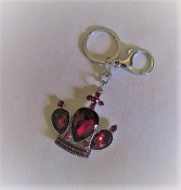 Key Ring - Red Crystal Silver Crown - Red Hat Ladies