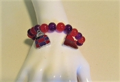 Bracelet - Red - Purple Glass Bead - 2 Charms - Red Hat Colors