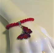 Bracelet - Red Beads - Butterfly Charm Designed For Red Hatters
