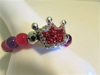 Bracelet Crystal Crown - Red Purple Glass Beads Red Hat Royalty