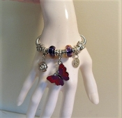Bracelet - Pandora Style Butterfly Charm - Exclusive to MRHS