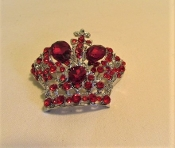 Red Crystal Crown Brooch - Pin - Red Hat Lady Royalty